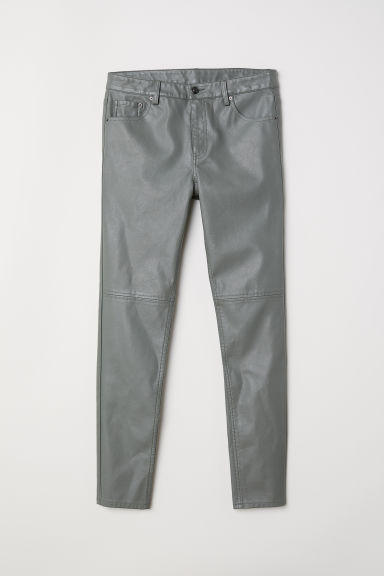 Imitation leather trousers - Khaki green - Ladies | H&M CN