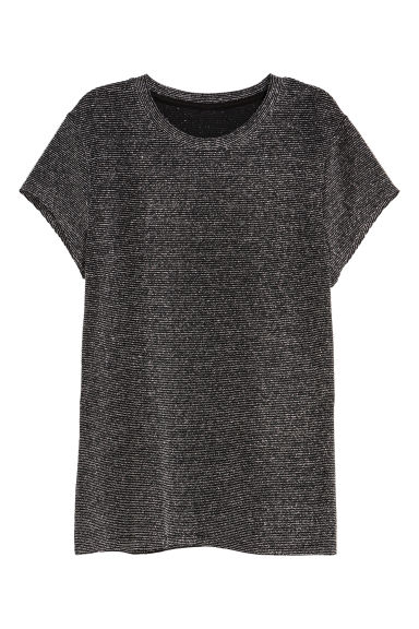 H&M+ Glittery jersey top - Black/Glittery - Ladies | H&M GB
