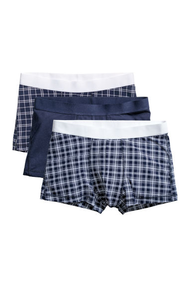 3-pack trunks - Dark blue/Checked - Men | H&M IE 1