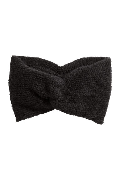 Mohair-blend knitted headband - Black - Ladies | H&M
