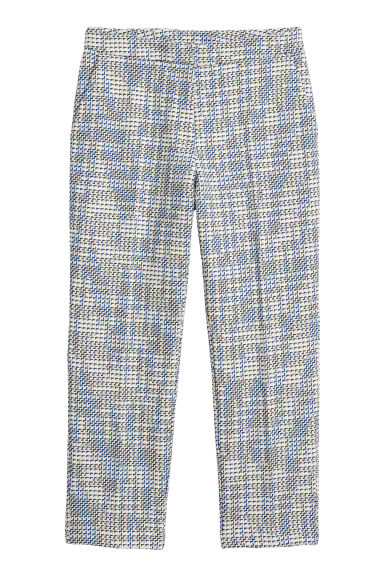 Jacquard-weave trousers - White/Blue - Ladies | H&M IE