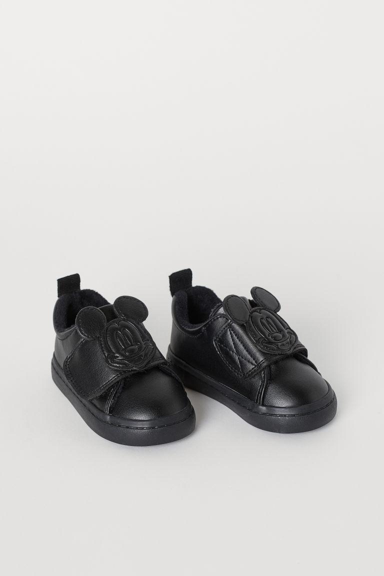 Appliquéd trainers - Black/Mickey Mouse - Kids | H&M GB