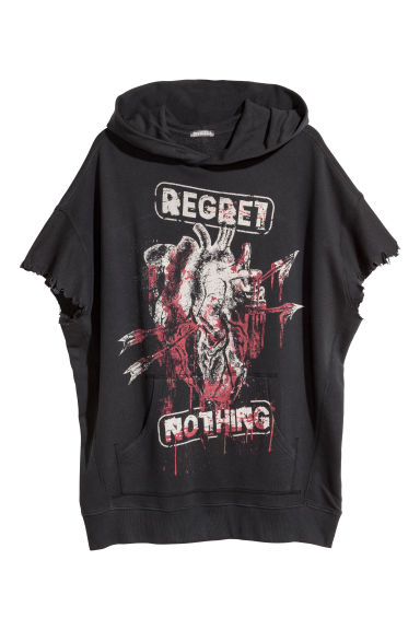 Sweat-shirt à capuche - Noir/Regret nothing - HOMME | H&M BE