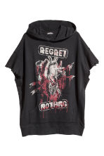 Sleeveless hooded top - Black/Regret nothing - Men | H&M GB 2