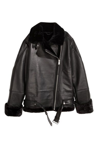 Oversized leather biker jacket - Black - Ladies | H&M
