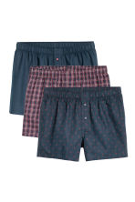 3-pack woven boxer shorts - Dark blue/Checked - Men | H&M IE 2