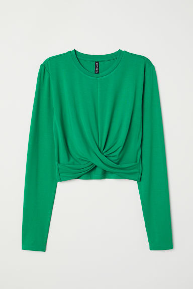 Short jersey top - Bright green -  | H&M