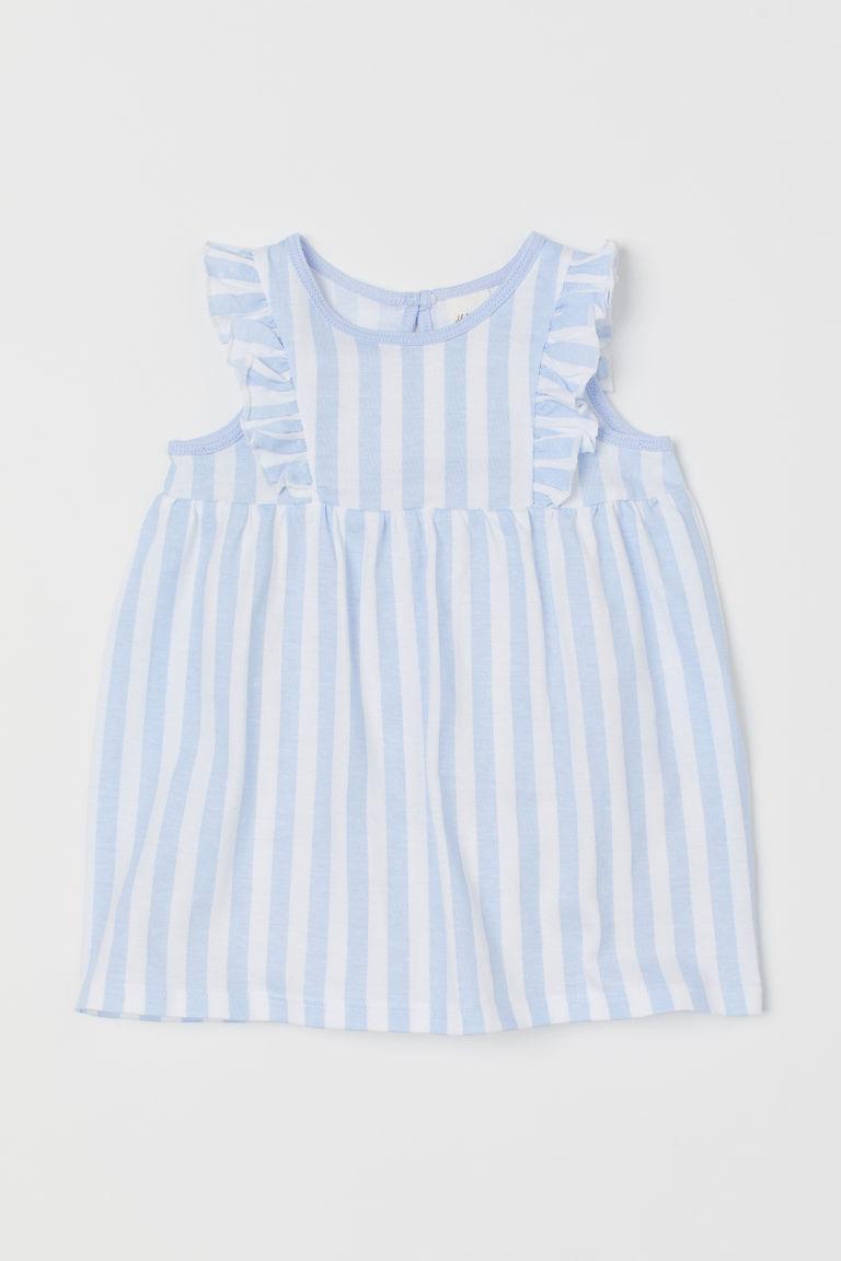 Flounce-trimmed cotton dress - Light blue/White striped - Kids   H&M GB