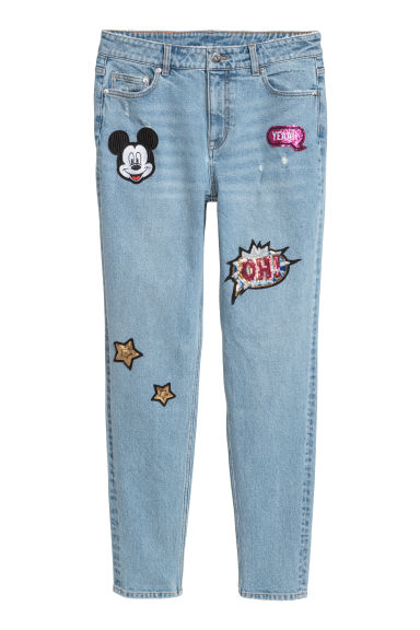 Boyfriend Low Jeans - Bleu clair denim/Mickey -  | H&M BE