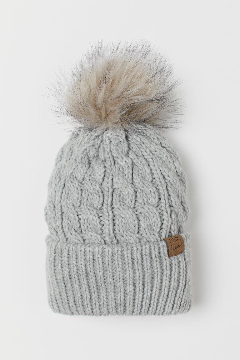 Knitted pompom hat - Light grey - Kids | H&M GB