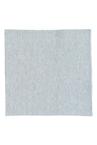 Linen-blend napkin - Natural white/Blue striped - Home All | H&M CN