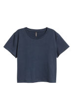Cropped T-shirt - Dark blue - Ladies | H&M 1
