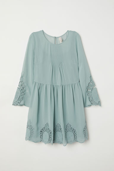 Dress with embroidery - Dusky green -  | H&M CN