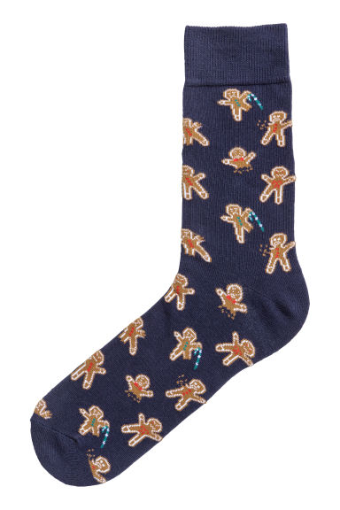 Jacquard-knit socks - Dark blue/Gingerbread men -  | H&M GB