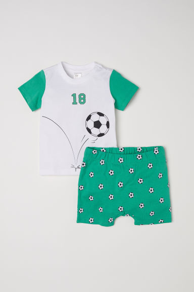Jersey pyjamas - Green/Football -  | H&M CN