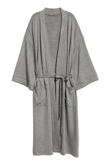 Jersey dressing gown - Grey marl -  | H&M IE