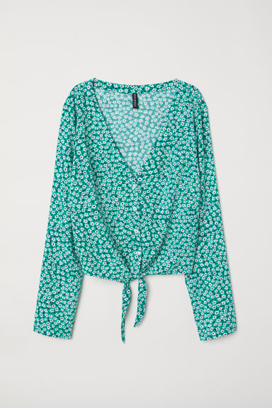 Tie-front blouse - Green/Floral -  | H&M