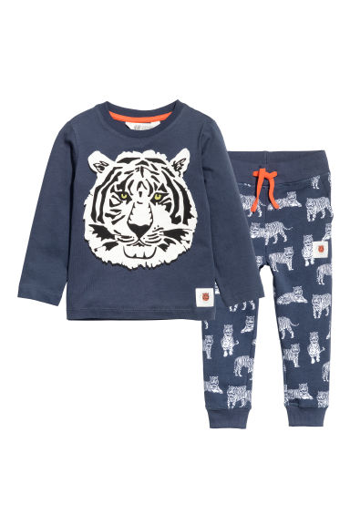 Jersey top and joggers - Dark blue/Tiger - Kids | H&M CN