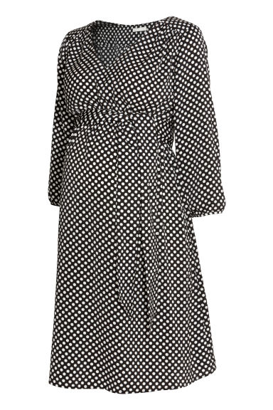 MAMA Patterned dress - Black/White spotted - Ladies | H&M CN