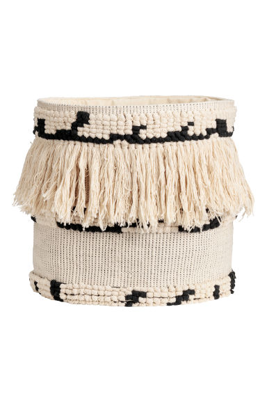 Jacquard-weave storage basket - Natural white/Black - Home All | H&M 1