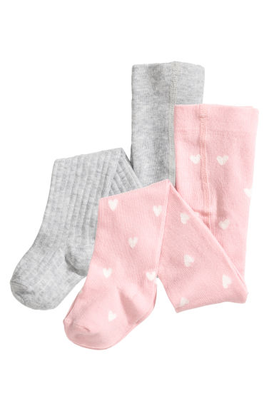 2-pack tights - Light grey/Hearts - Kids | H&M CN 1