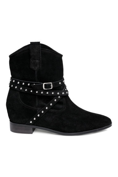 Suede ankle boots - Black - Ladies | H&M CN