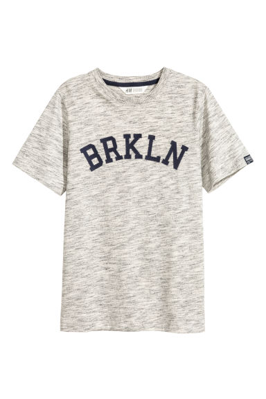 T-shirt avec impression - Gris chiné/Brkln - ENFANT | H&M BE