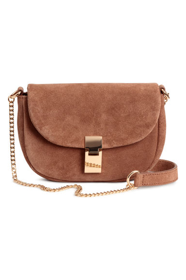 Suede shoulder bag - Light brown -  | H&M IE