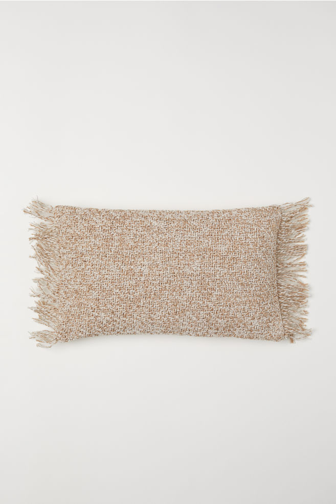 Cushion Cover with Fringe - Light beige - Home All | H&M US 1