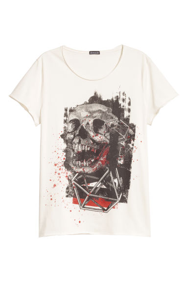 T-shirt with a print - Natural white/Skull -  | H&M CN