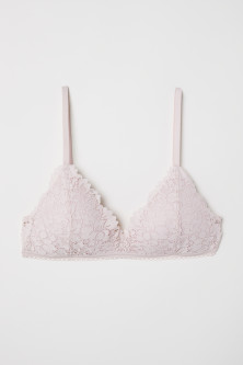 Non-wired lace push-up bra