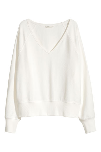 V-neck sweatshirt - White -  | H&M IE