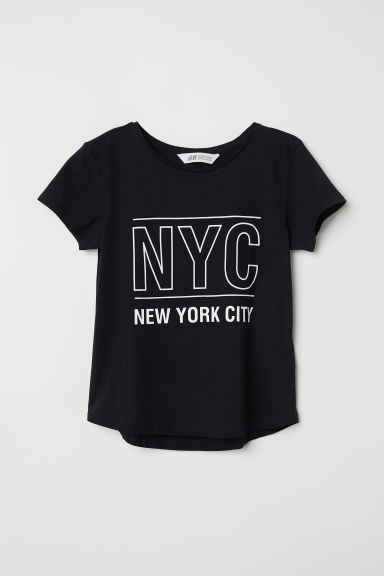 Top in jersey Generous Fit - Nero/NYC -  | H&M IT