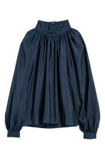 Balloon-sleeved blouse - Dark blue - Ladies | H&M 2