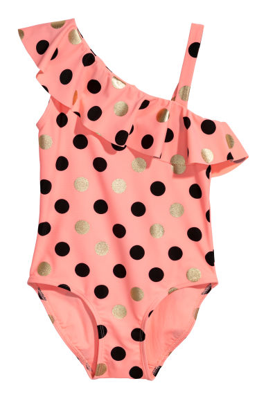 One-shoulder swimsuit - Light coral/Spotted -  | H&M CN