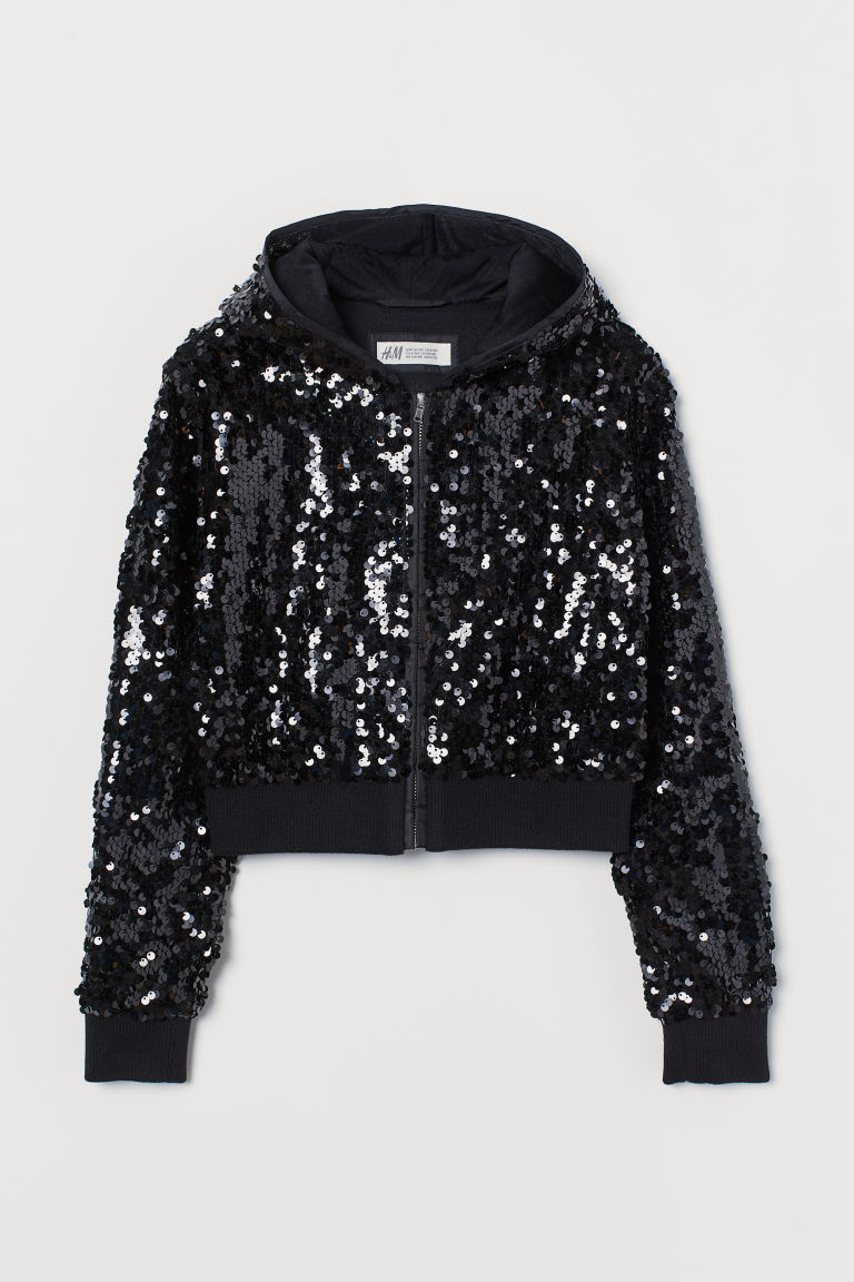 Sequined Hooded Jacket