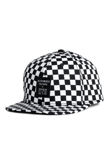 Twill cap - White/Black checked -  | H&M
