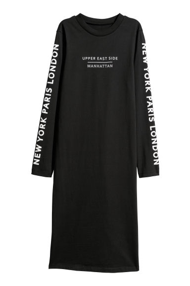 Long-sleeved jersey dress - Black - Ladies | H&M CN