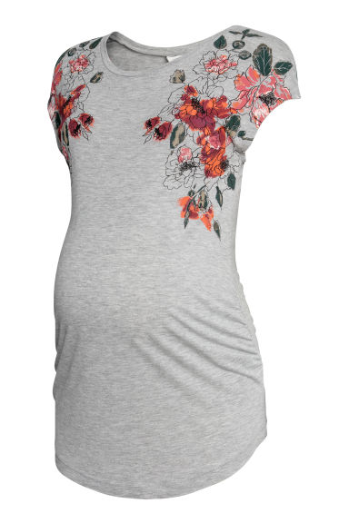 MAMA Jersey top - Light grey marl - Ladies | H&M CN
