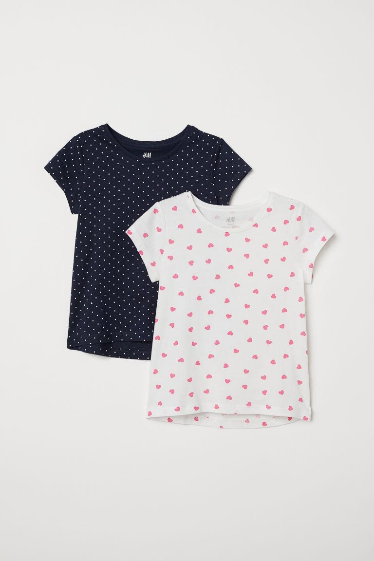 2-pack T-shirts - White/Dark blue - Kids   H&M GB