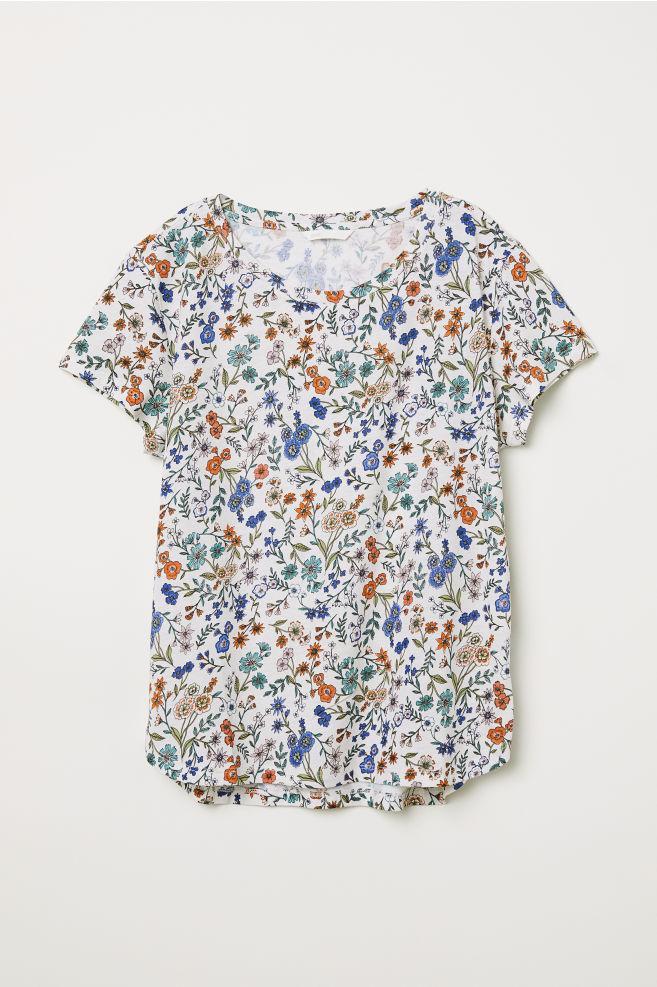T-shirt en coton - Écru/fleuri - FEMME | H&M FR 4