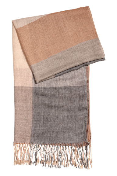 Woven scarf - Grey/Powder pink - Ladies | H&M CN