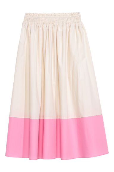 Gonna in cotone al polpaccio - Bianco/rosa - DONNA | H&M IT