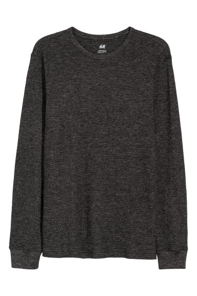 Waffled top - Black marl - Men | H&M