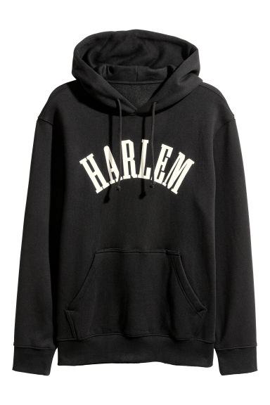 Hooded top with a motif - Black - Men | H&M CN