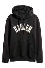 Hooded top with a motif - Black - Men | H&M GB 2