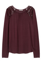 Long-sleeved top with lace - Plum - Ladies | H&M IE 2
