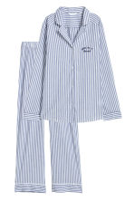 Pyjama shirt and bottoms - Dark blue/White striped - Ladies | H&M IE 2