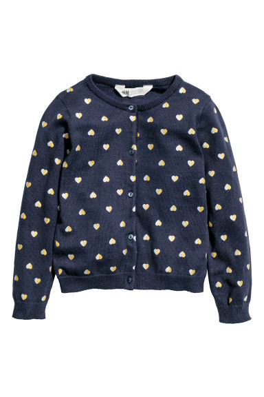 Cotton cardigan - Dark blue/Hearts - Kids | H&M CN
