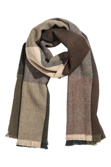 Block-patterned scarf - Green/Multicoloured -  | H&M